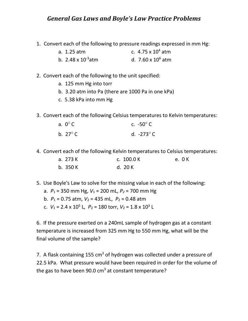 General Gas Laws And Boyle's Law Practice Problems