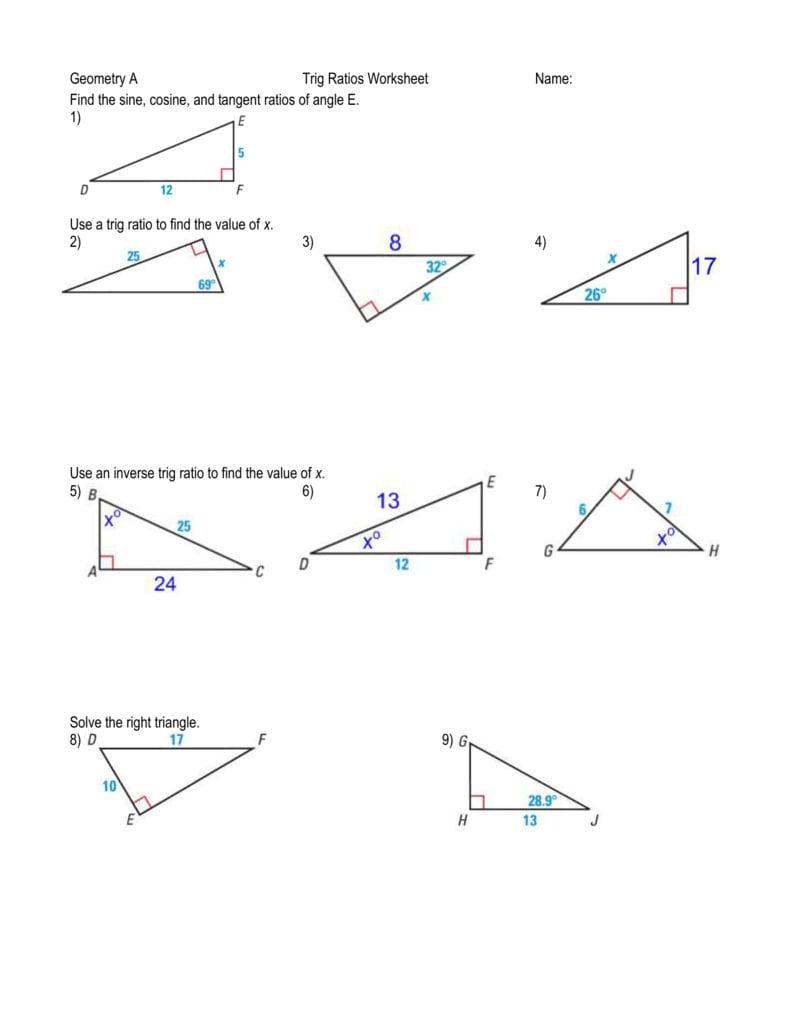 Geometry A Trig Ratios Worksheet Name Find The Sine Cosine ...