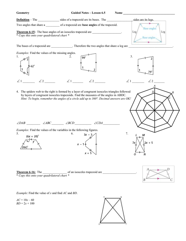 Geometry Guided Notes – Lesson 65 Name