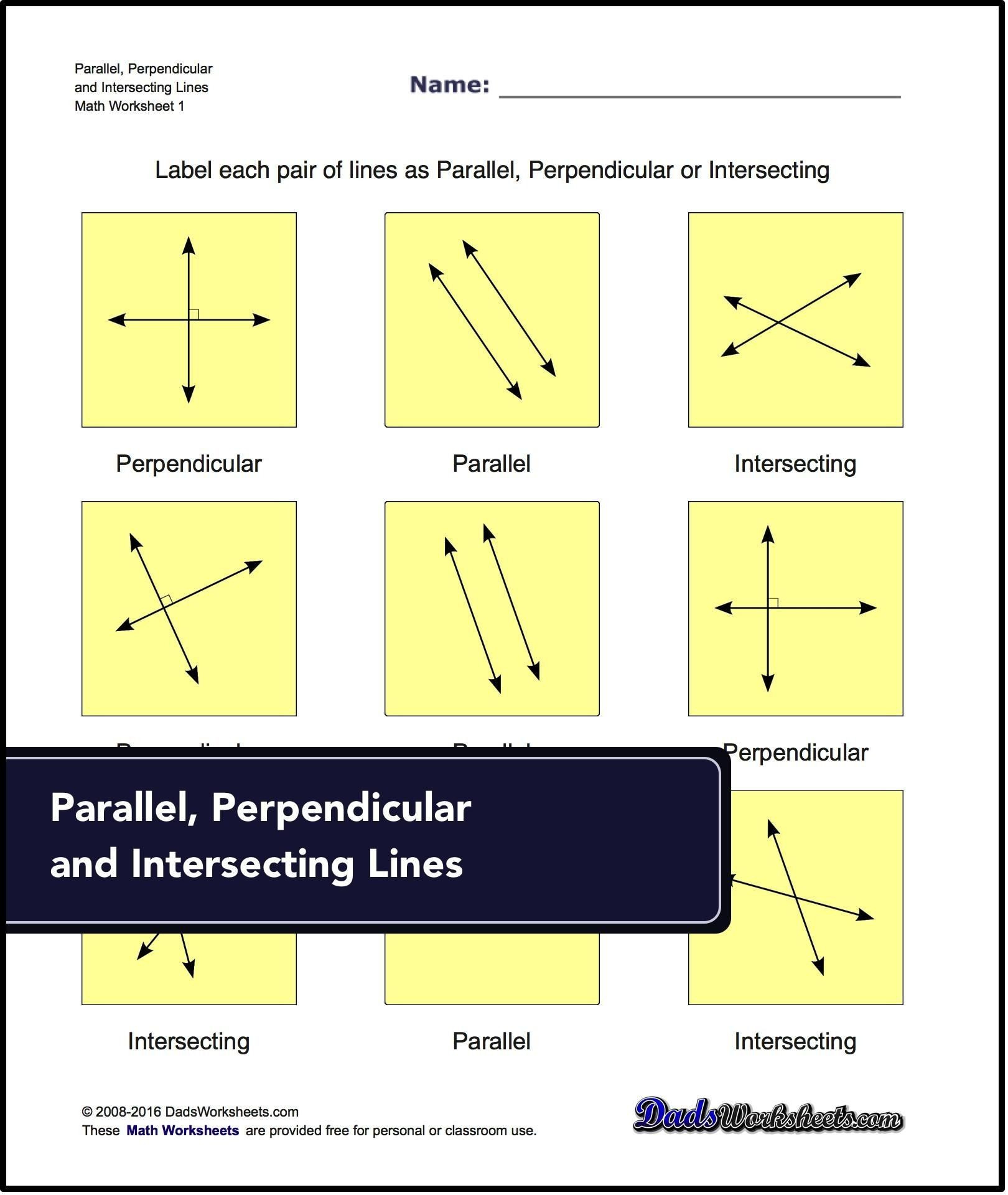Geometry Parallel And Perpendicular Lines Worksheet Answers