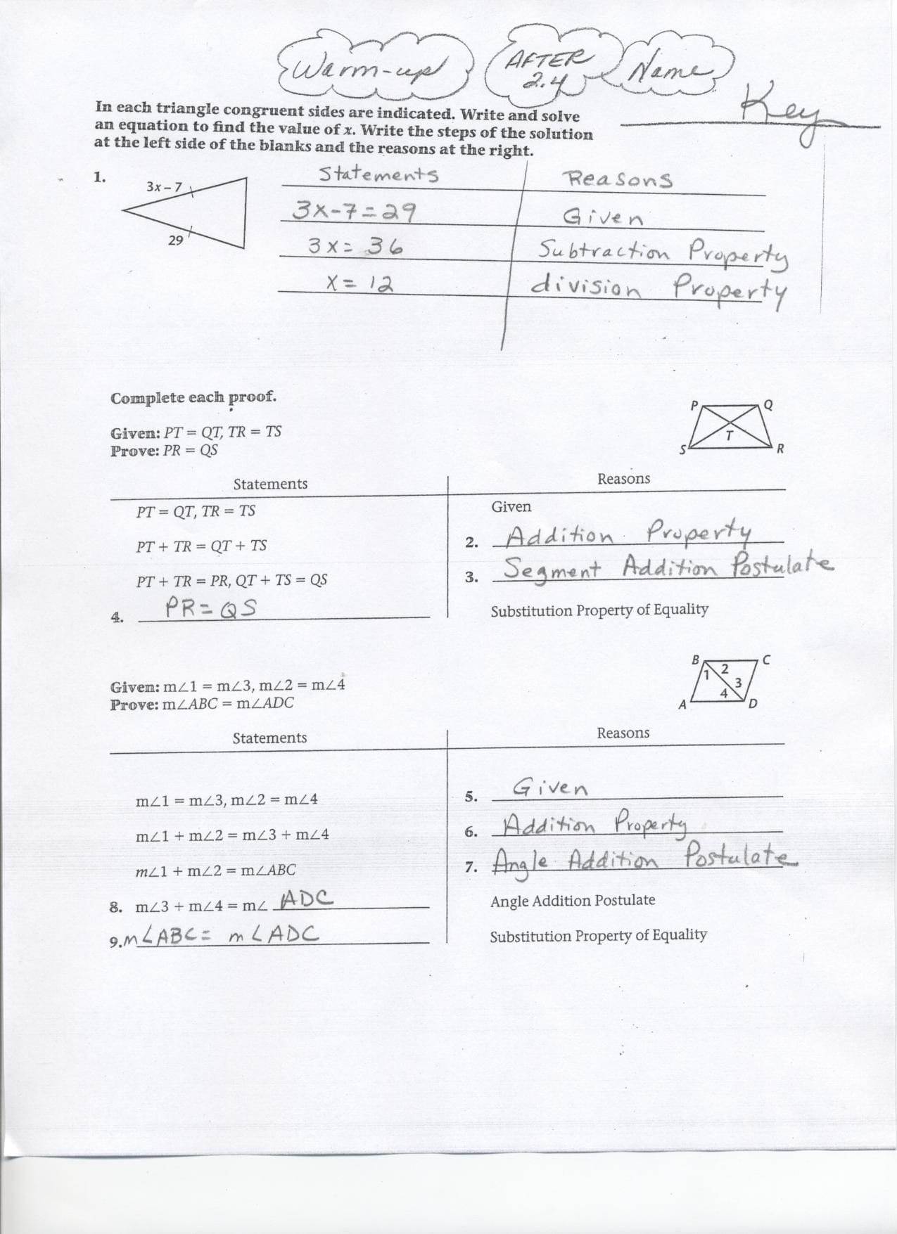 Geometry Segment And Angle Addition Worksheet Answer Key ...