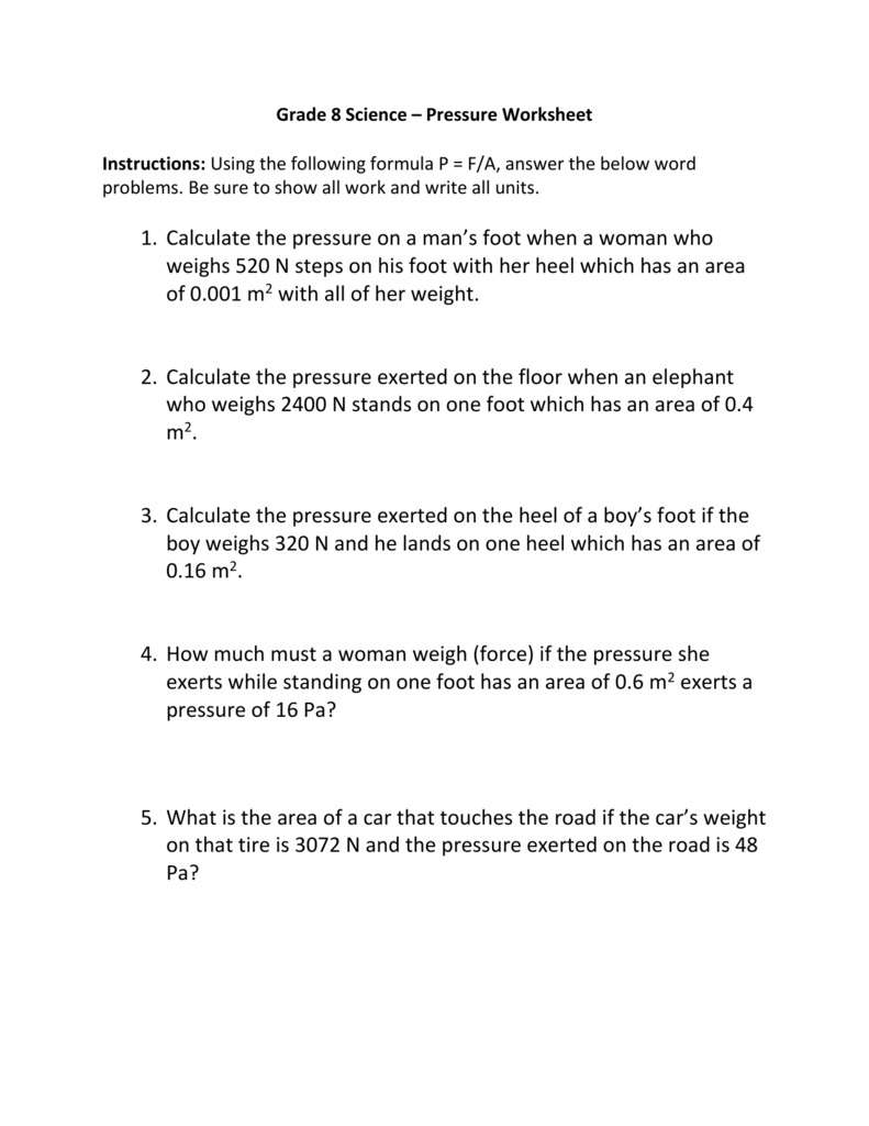 Grade 8 Science – Pressure Worksheet Instructions