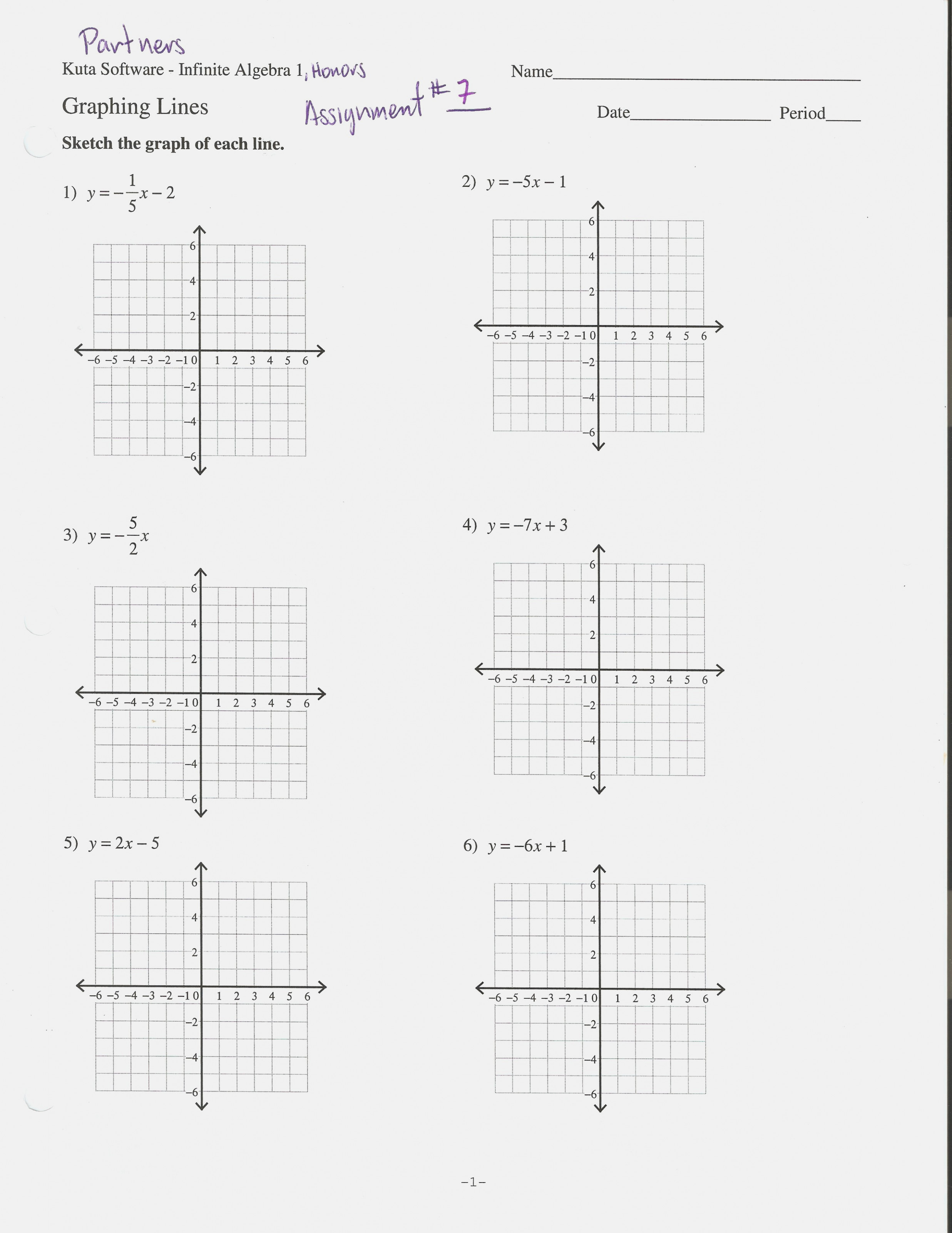 Graphing Equations In Slope Intercept Form Worksheet 133 13