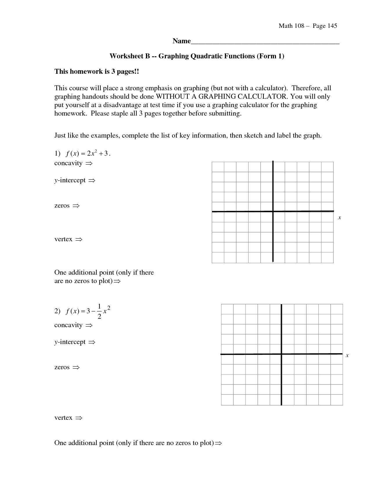 Graphing Parabolas In Vertex Form Worksheet   db excel.com