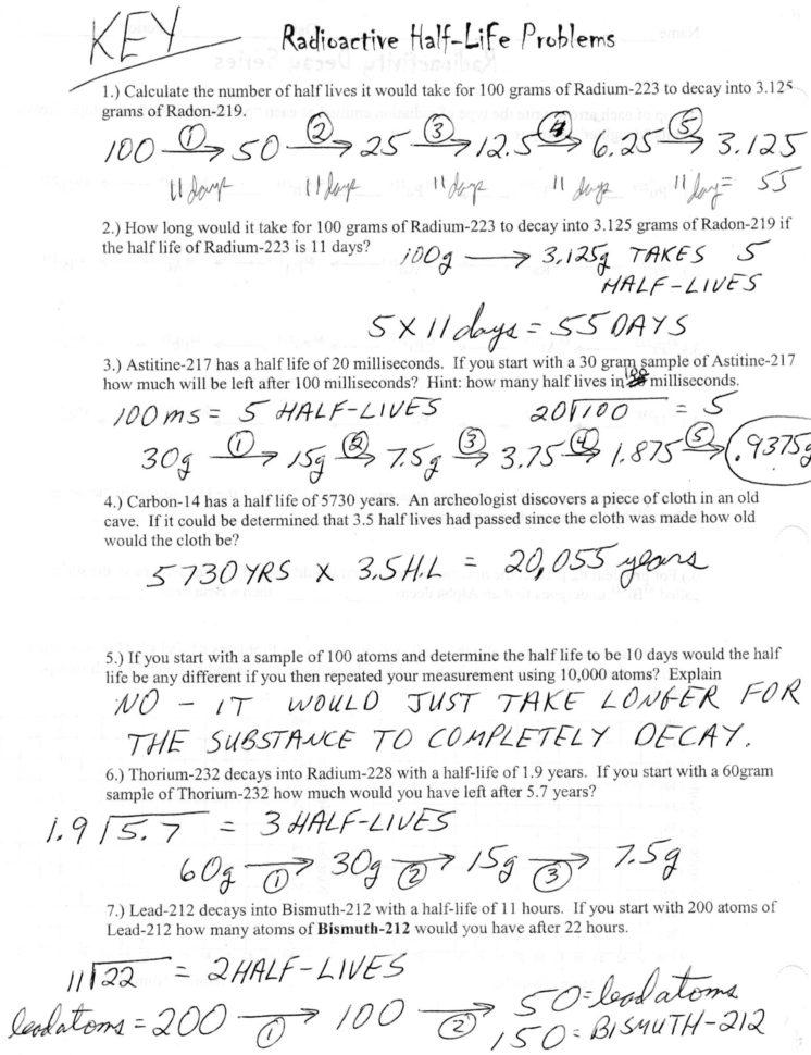 Half Life Worksheets Answer Key — db excel.com