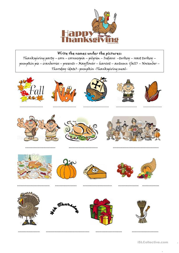 Happy Thanksgiving  English Esl Worksheets