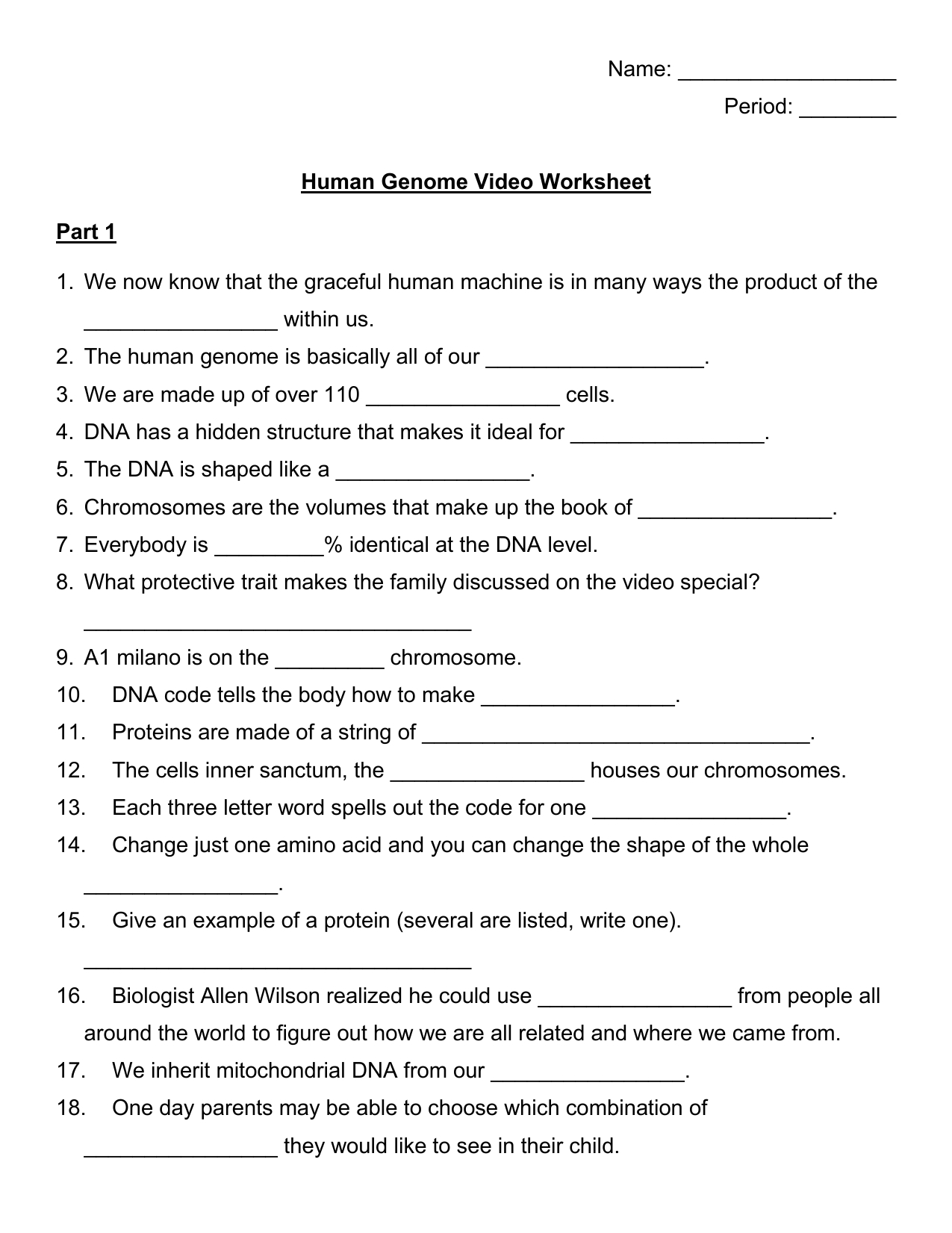 Human Genome Video Guide