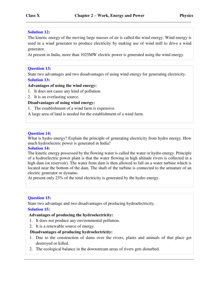 Work Energy And Power Worksheet Answers Physics Classroom ...