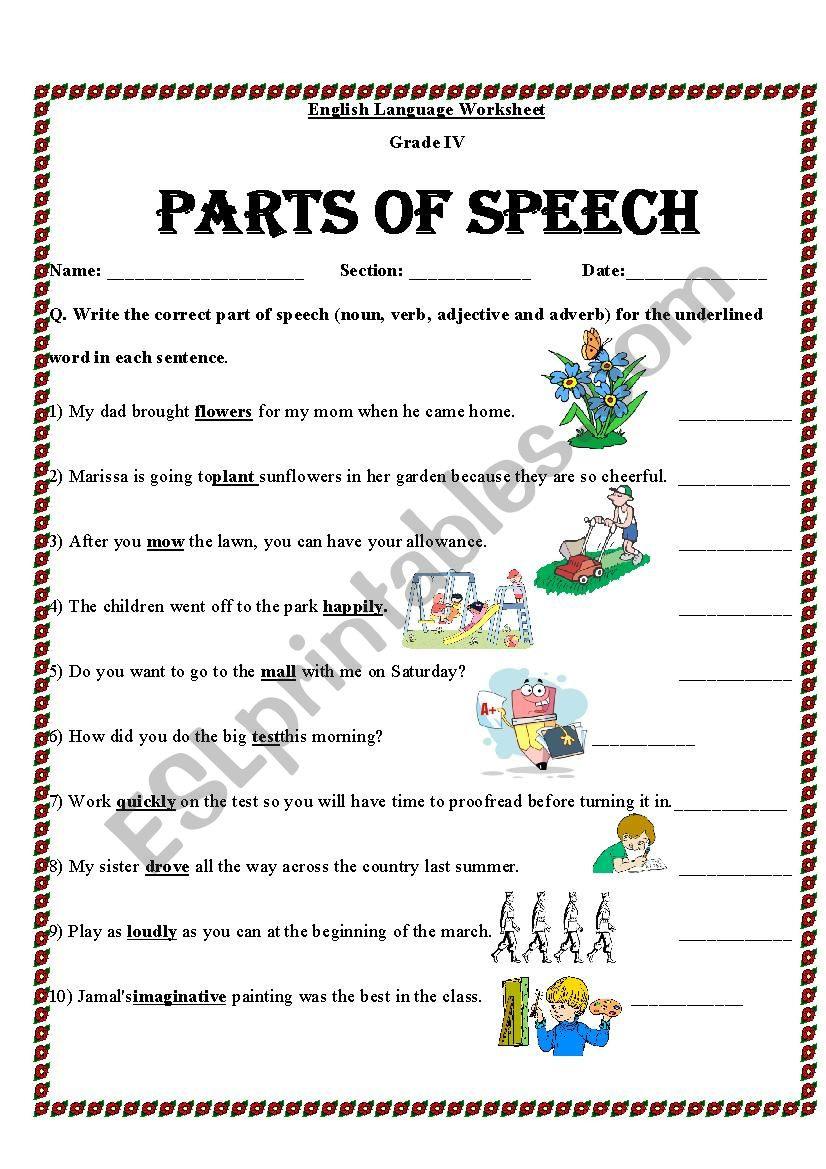 Identifying Parts Of Speech Worksheet — db excel.com
