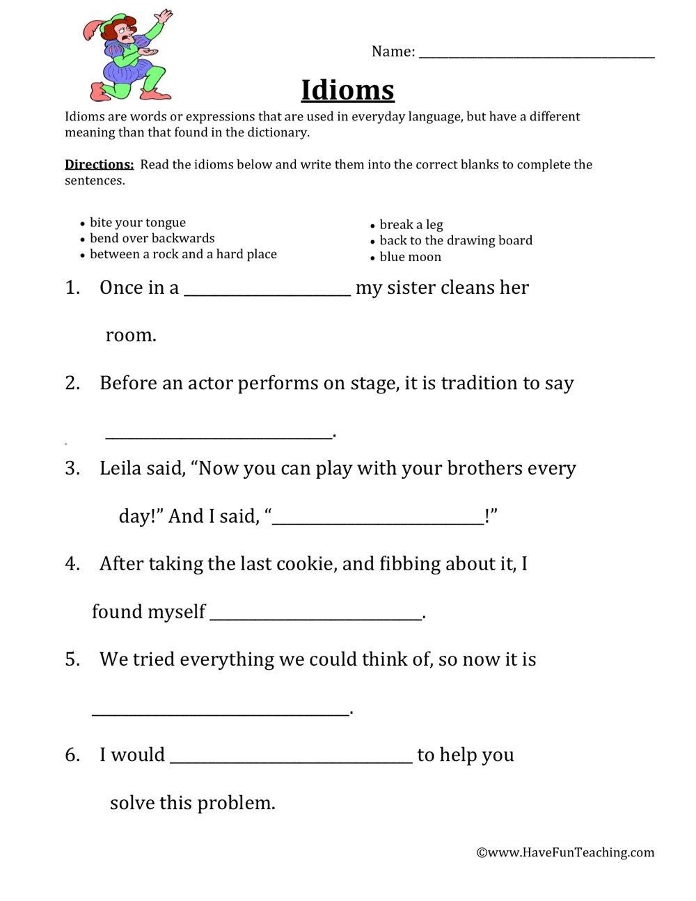 Idioms Worksheets  Have Fun Teaching