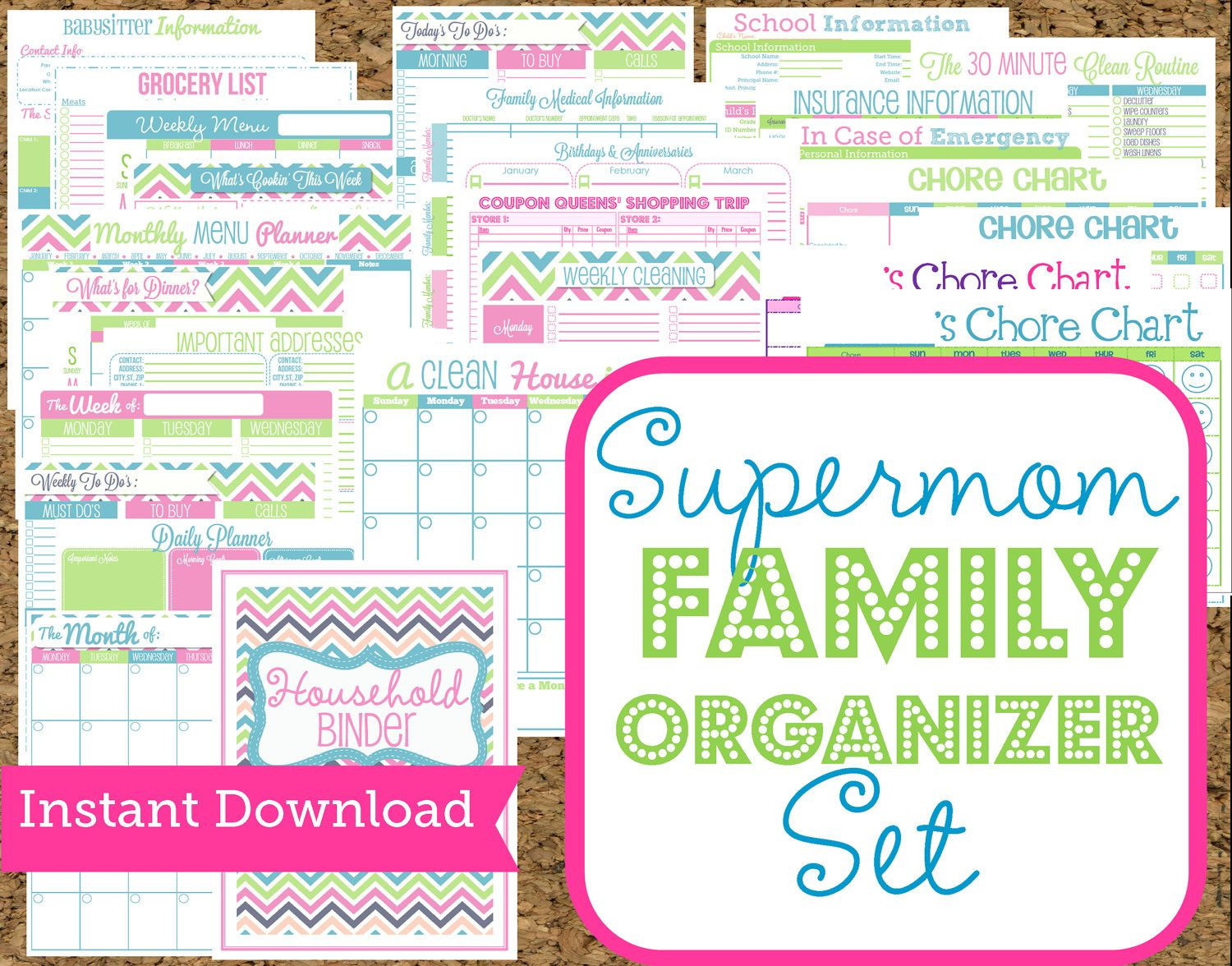 Instant Download Mom Planners Home Organization Printables