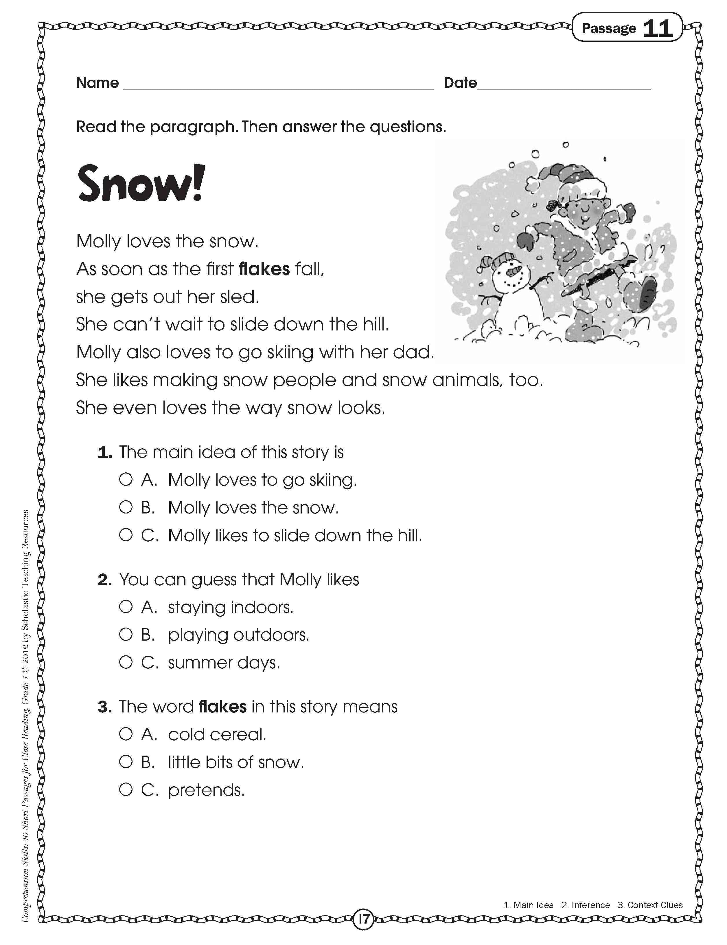 Kindergarten Free Reading Comprehension Passages Math Games