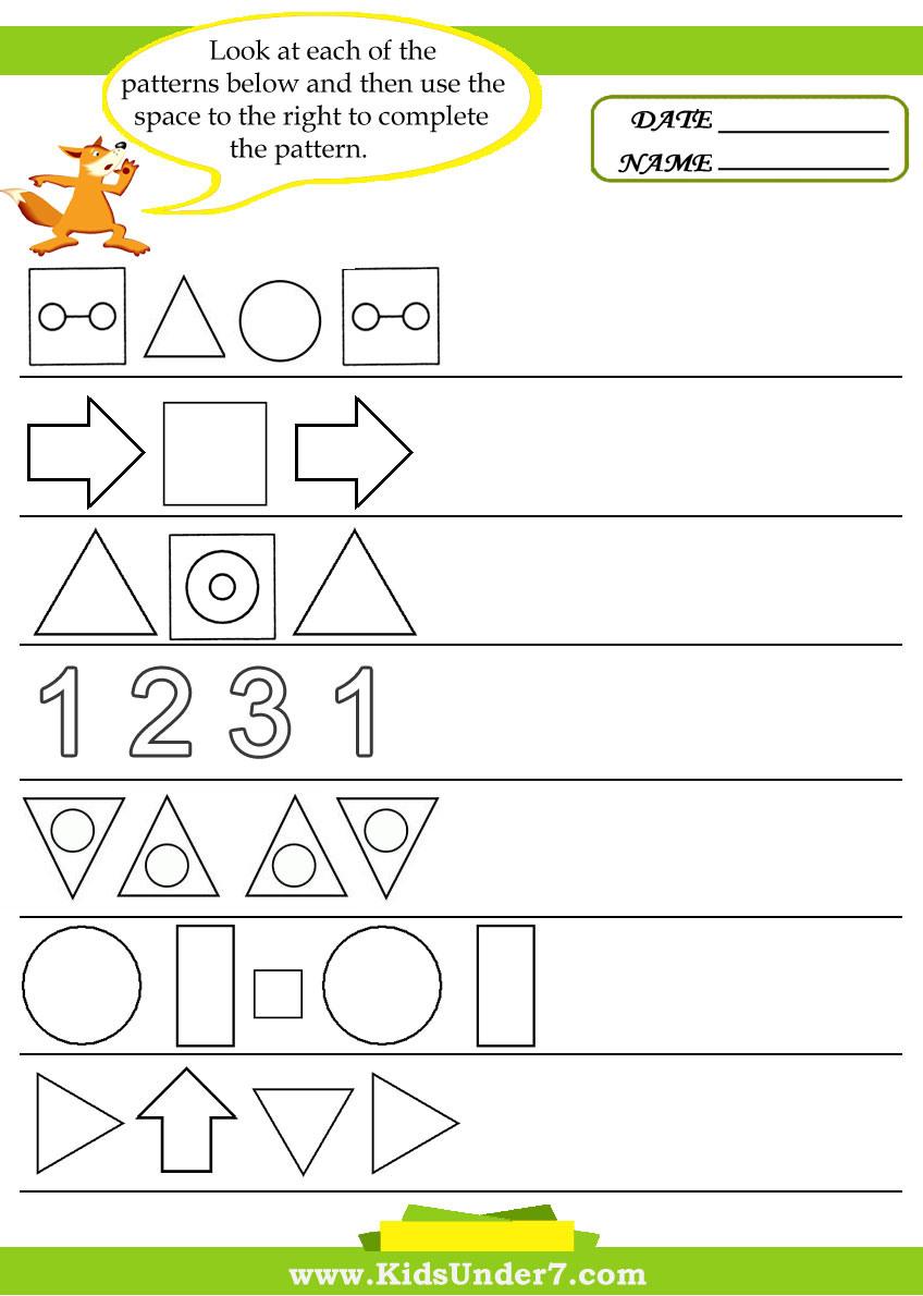 Kindergarten Pattern Worksheets For Kindergarten Phone