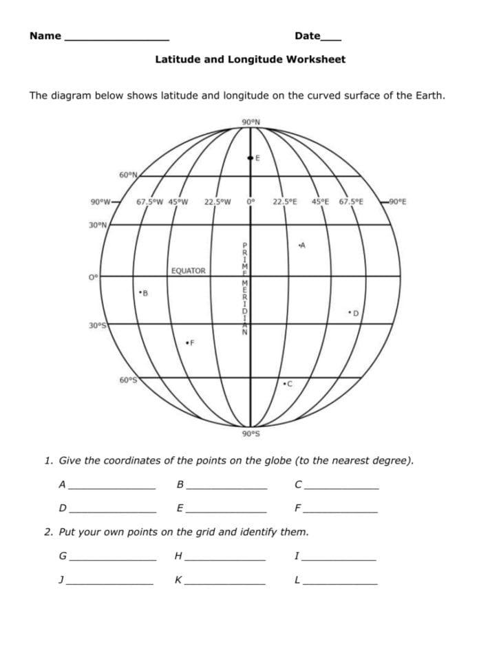 Latitude And Longitude Worksheet Answer Key — db excel.com