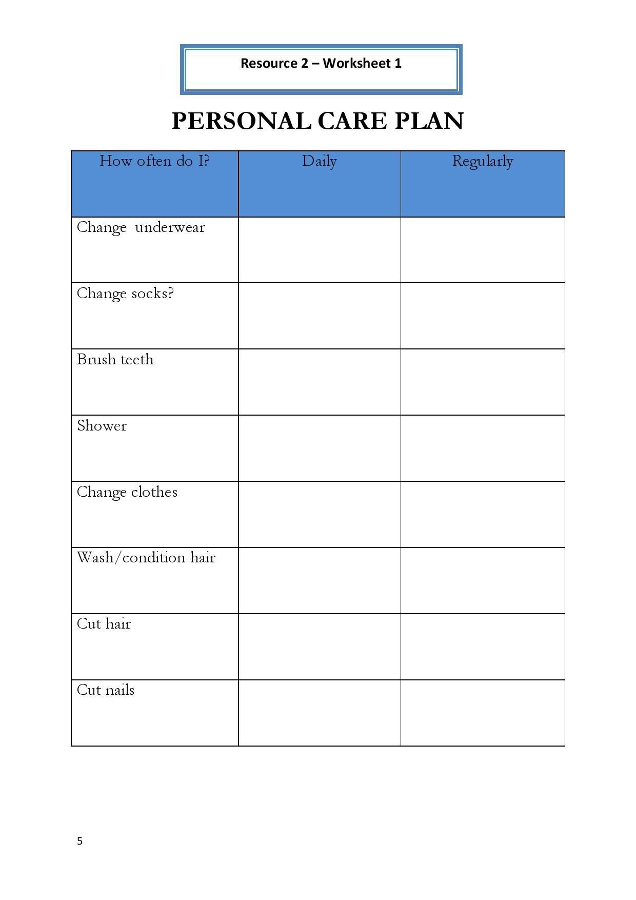 Life Skills Worksheets For Adults