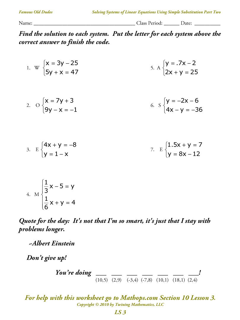 Worksheet 3 Systems Of Equations Substitution And ...