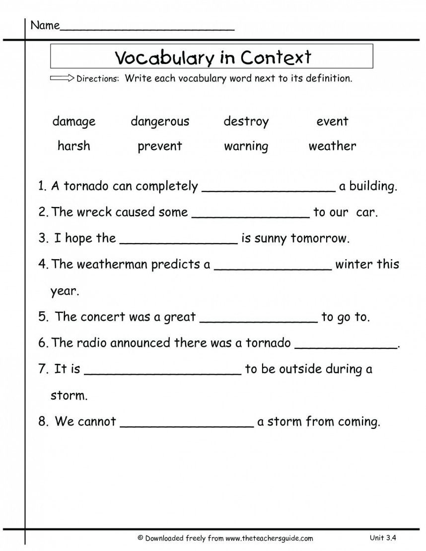 8Th Grade Vocabulary Worksheets - db-excel.com