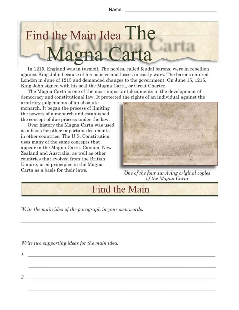 Main Idea Worksheets The Magna Carta — db excel.com