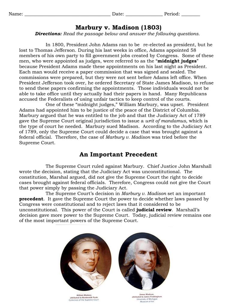 Marbury V Madison Worksheet   db excel.com
