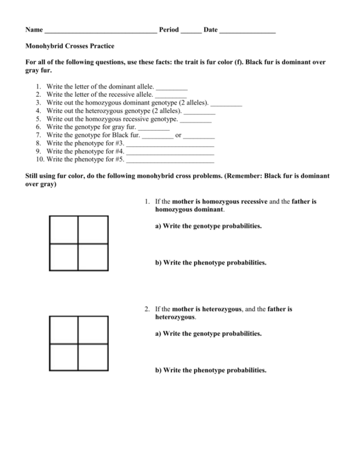 Monohybrid Cross Problems Worksheet With Answers | db ...