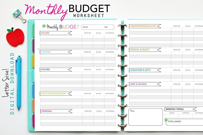Monthly Budget Worksheet Printable — db excel.com