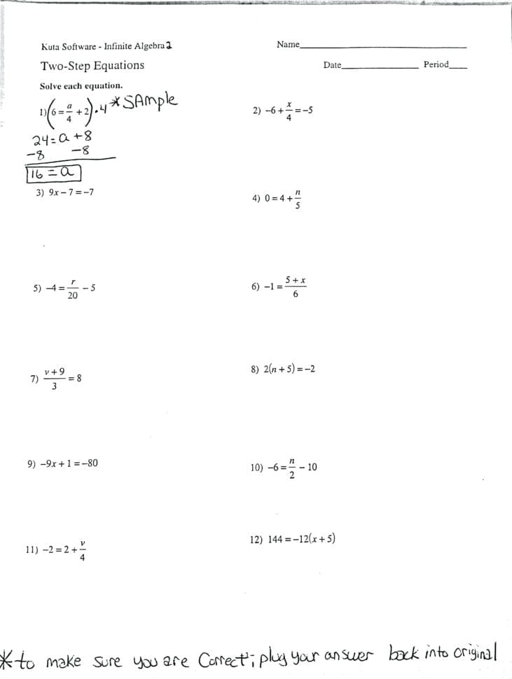 Multi Step Equations Worksheet Variables On Both Sides ...