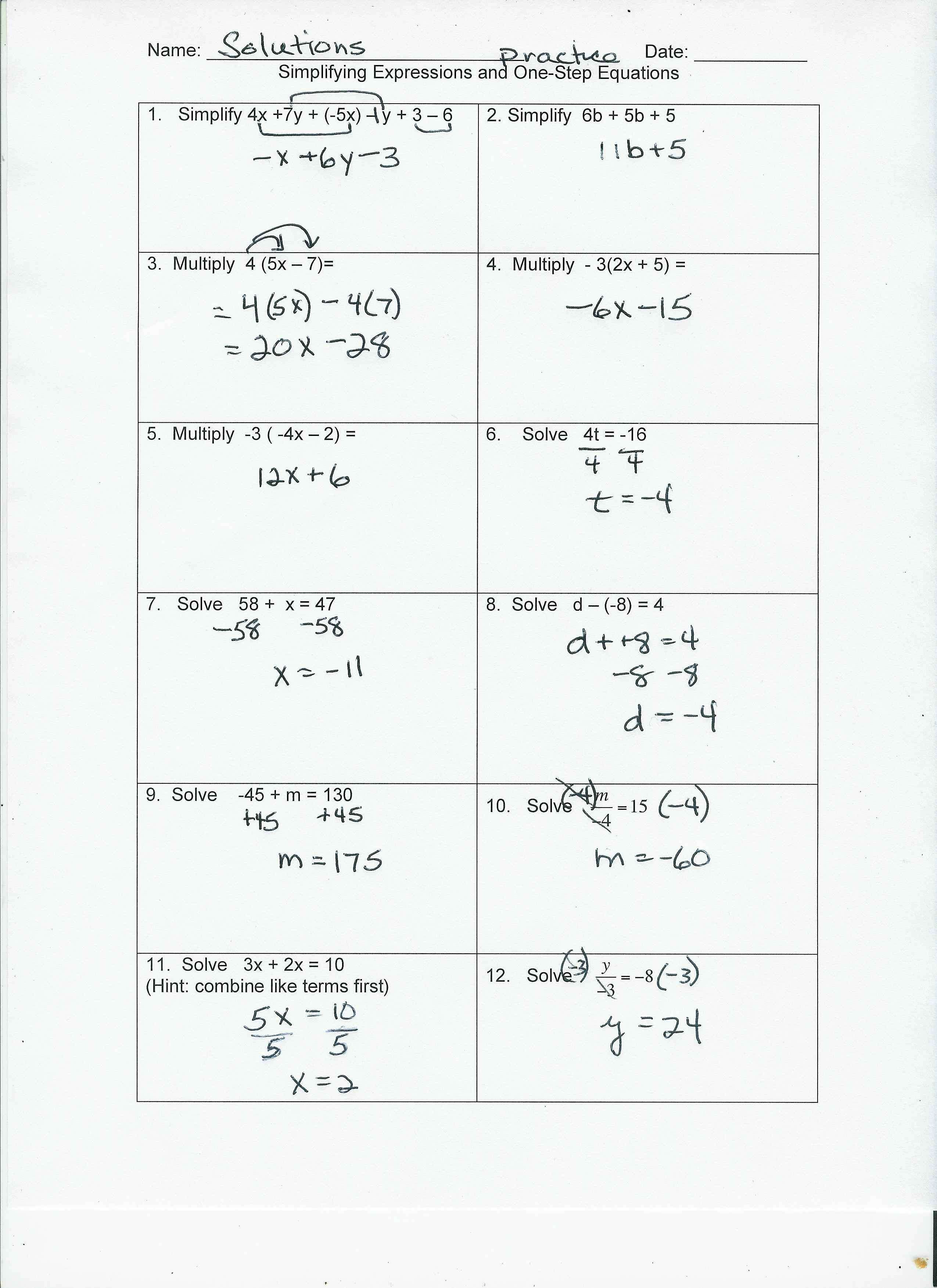 Multi Step Equations Worksheet Variables On Both Sides