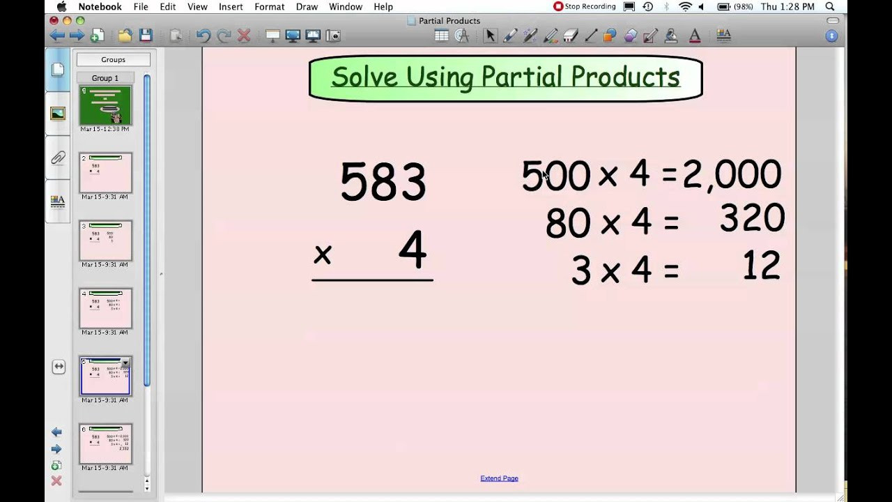 Multiply Using Partial Products 4Th Grade Worksheets  Yooob