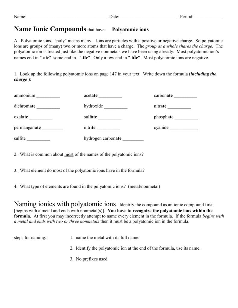 Polyatomic Ions Worksheet — db excel.com