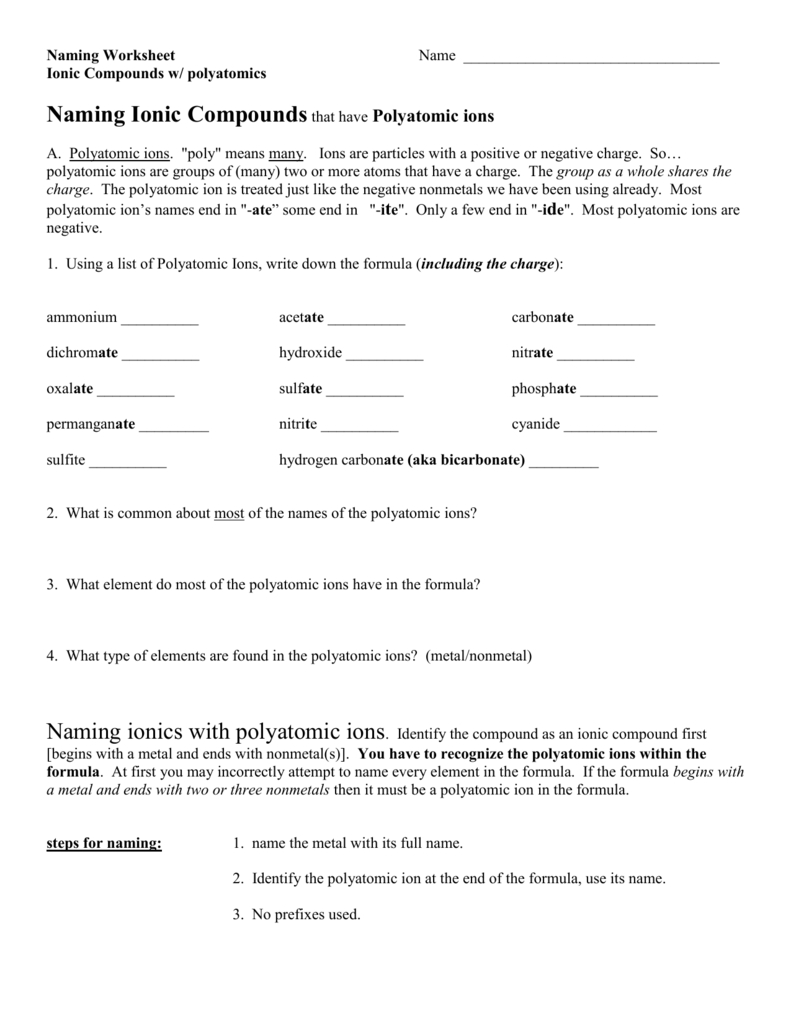 Naming Worksheet Name Ionic Compounds W Polyatomics Naming