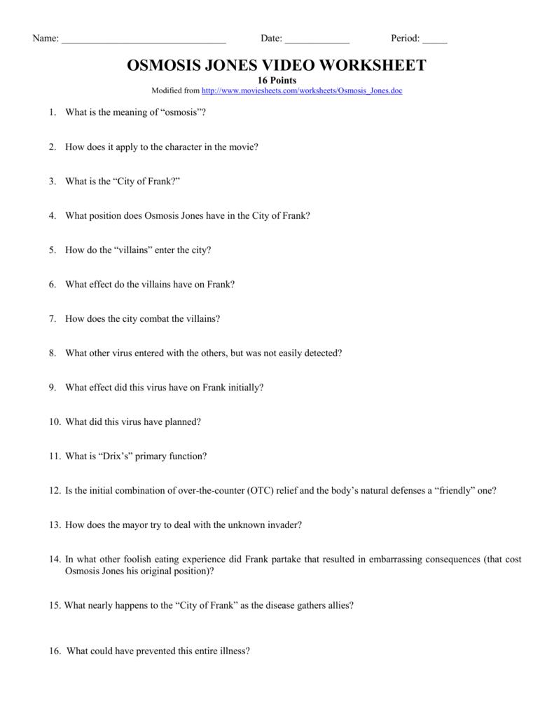 Osmosis Jones Video Worksheet Answers | db-excel.com