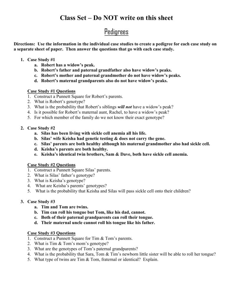 Pedigree Worksheet Case Studies