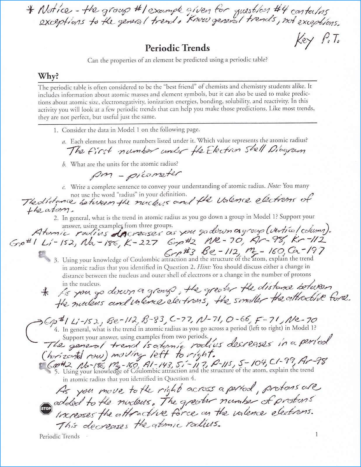 Periodic Trends Worksheet Answer Key   db excel.com