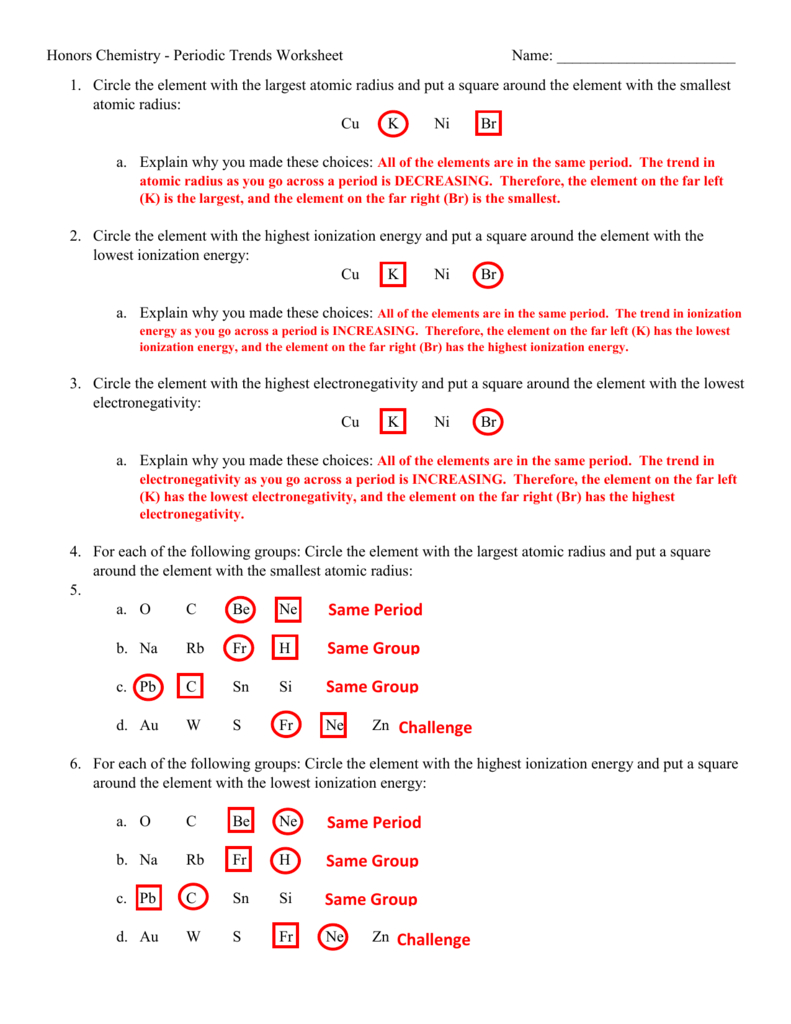 Periodic Trends Worksheet Answer Key | db-excel.com