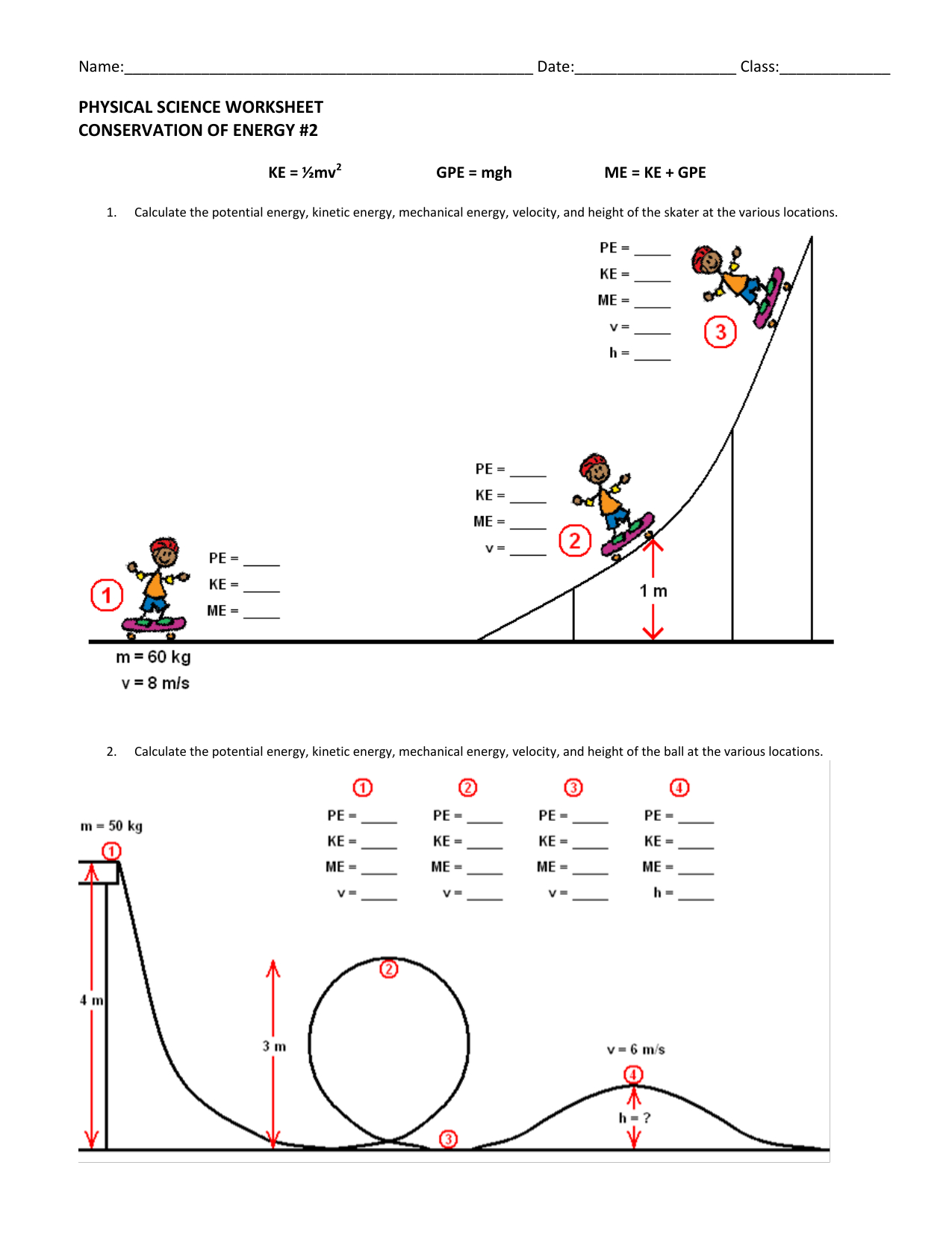 Physical Science Worksheet Conservation Of Energy 2 Answer ...