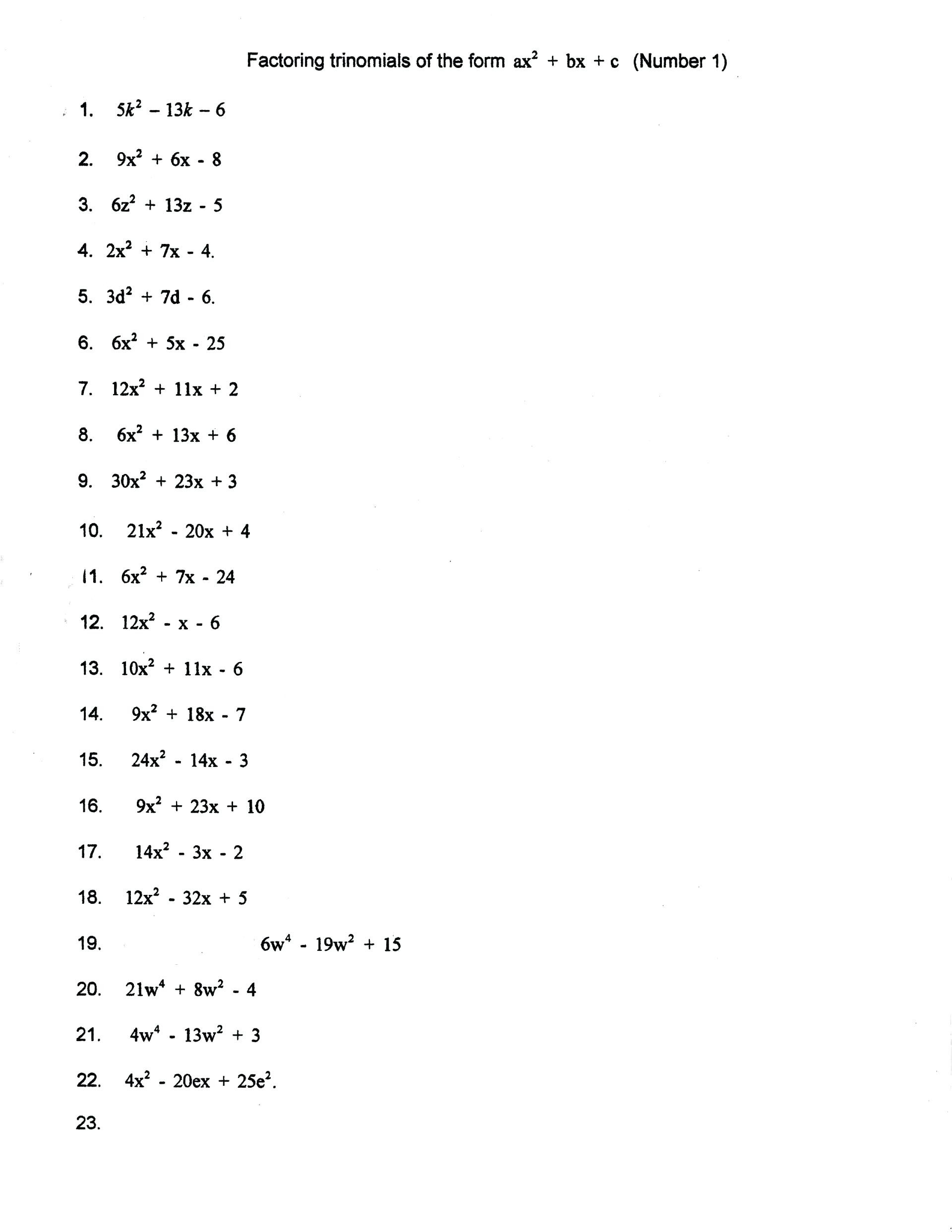 Polynomial Factoring Puzzle 1 Answer Key