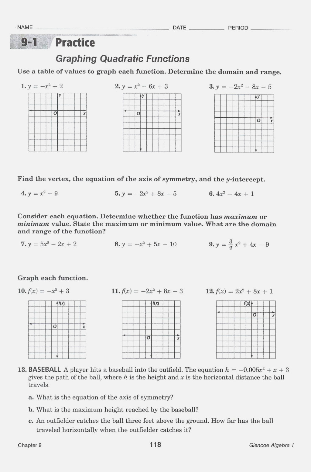 Practice Worksheet Graphing Quadratic Functions In ...
