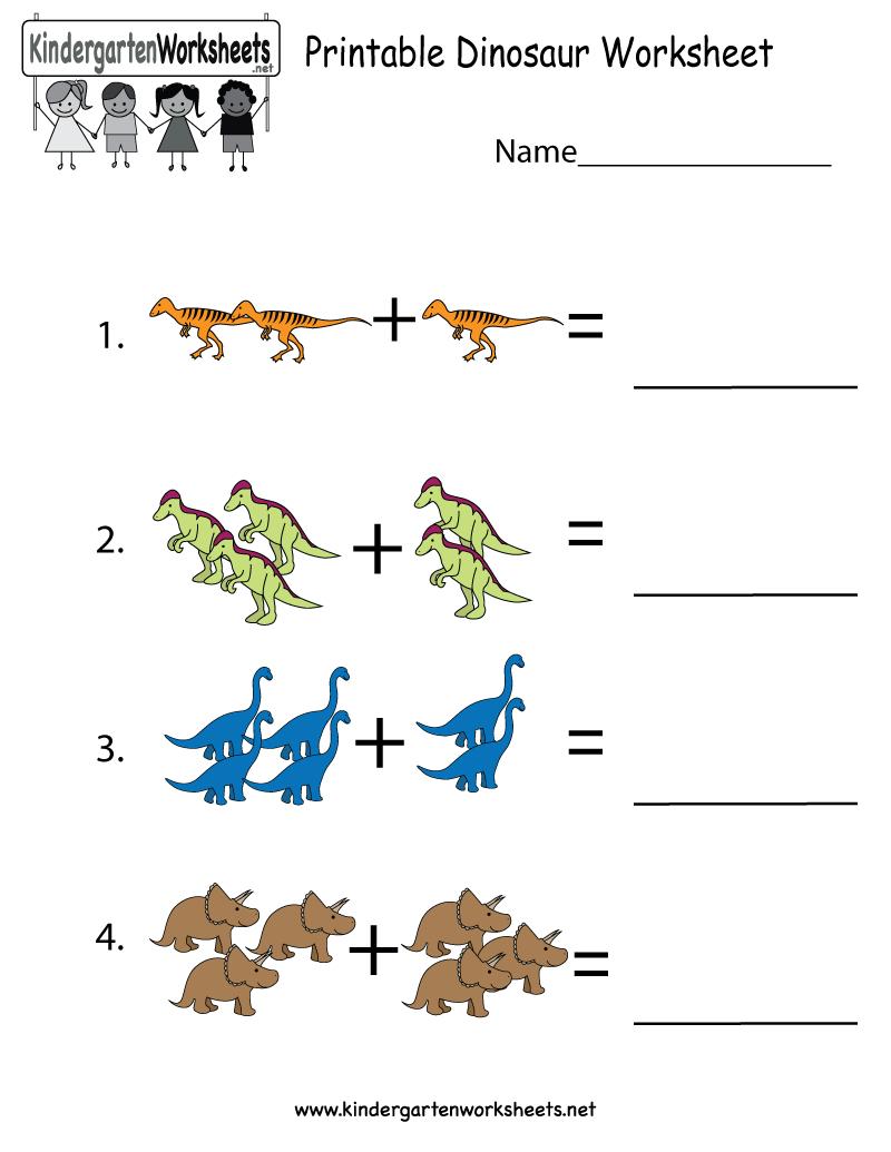 Printable Dinosaur Worksheet  Free Kindergarten Learning