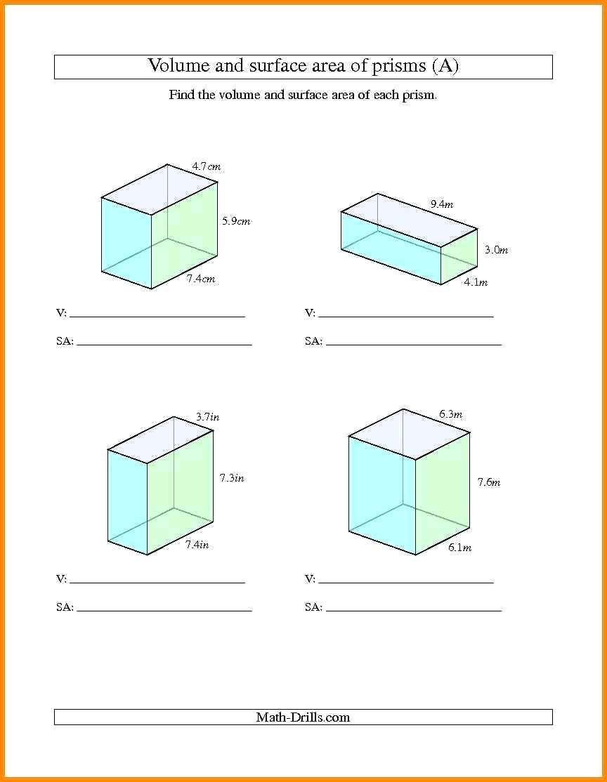 Prisms Worksheets Surface Area Of Prisms And Cylinders ...