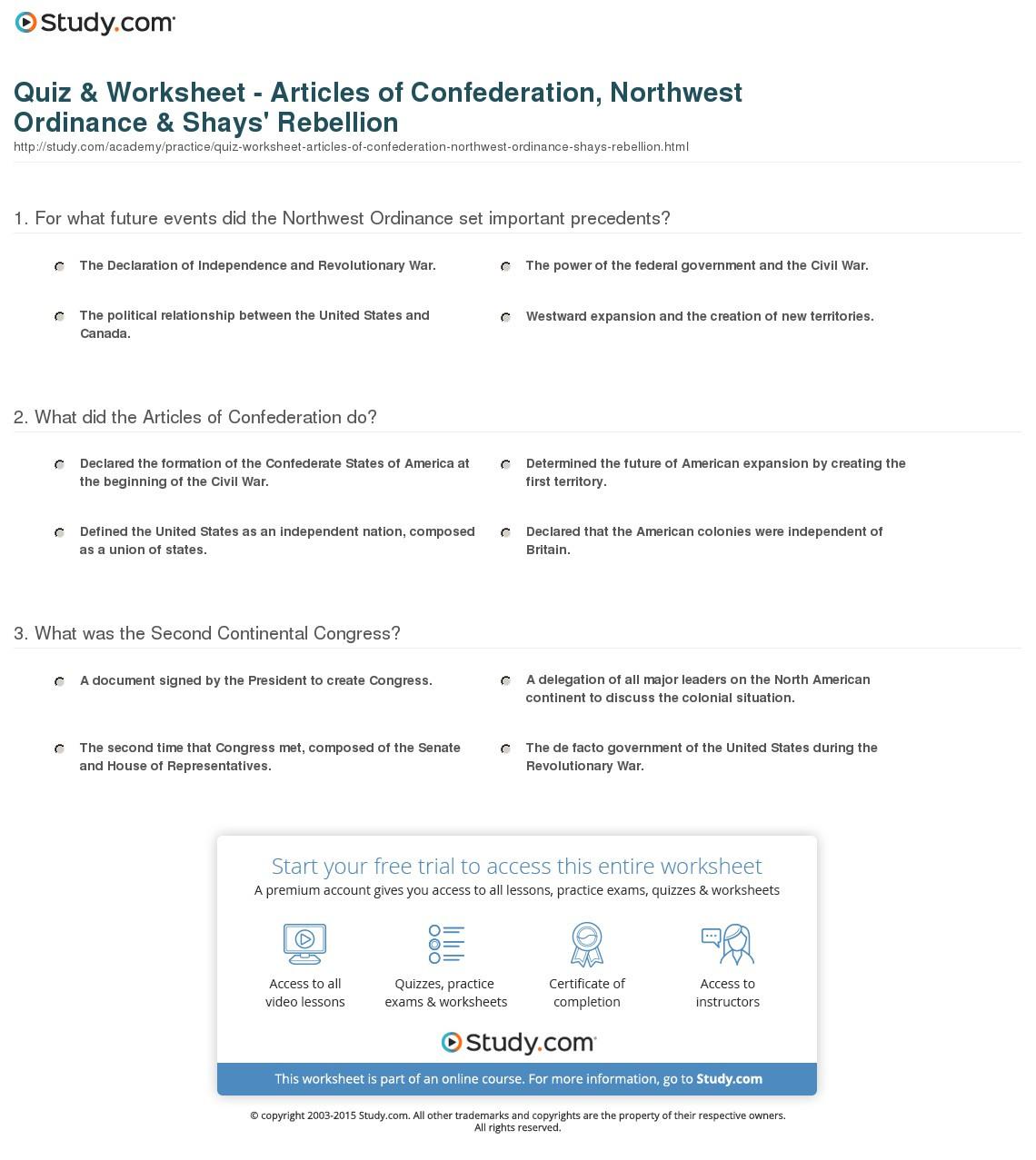 Quiz  Worksheet  Articles Of Confederation Northwest