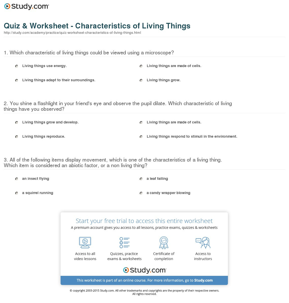 Quiz  Worksheet  Characteristics Of Living Things  Study