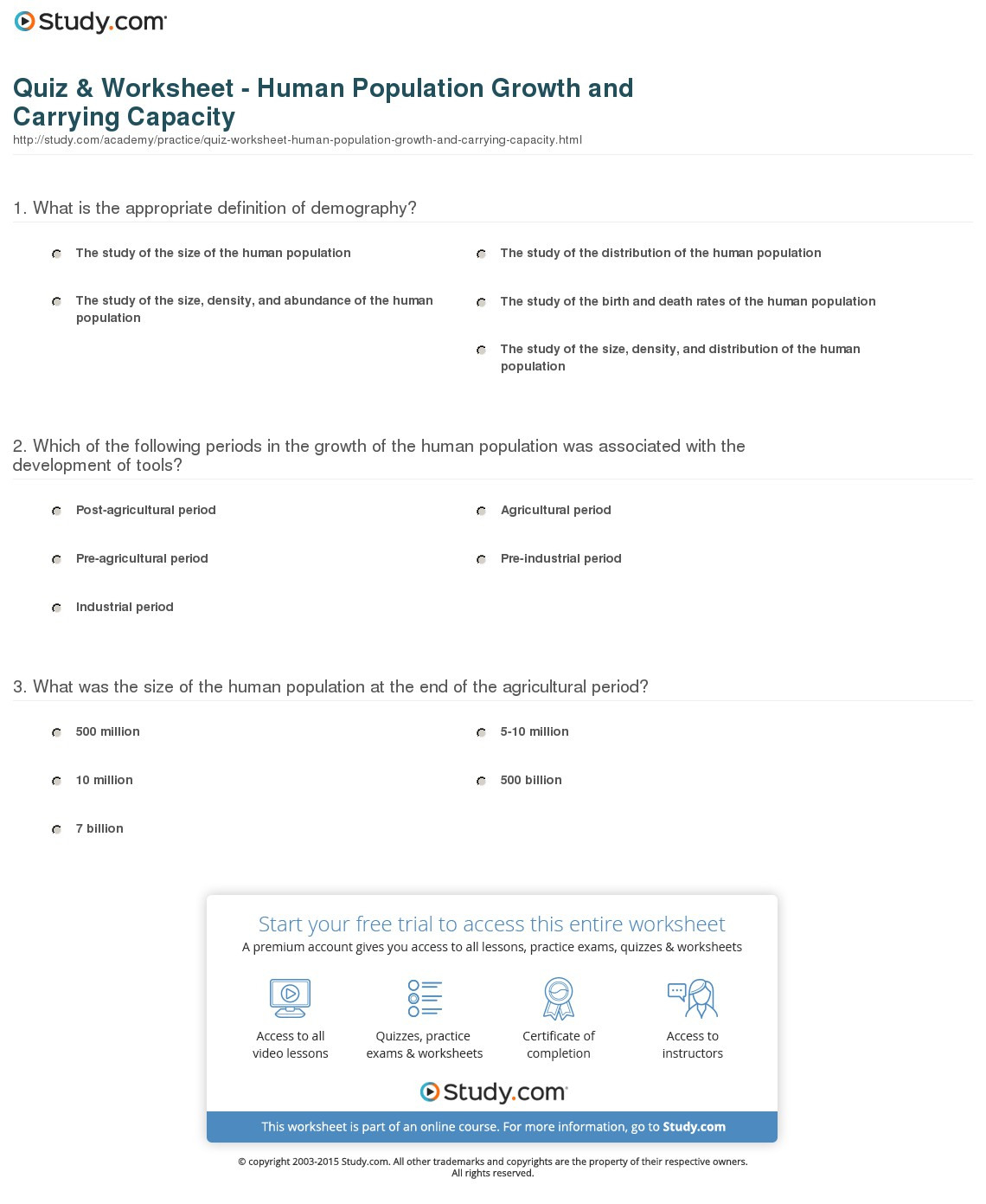 Quiz Worksheet Human Population Growth And Carrying ...