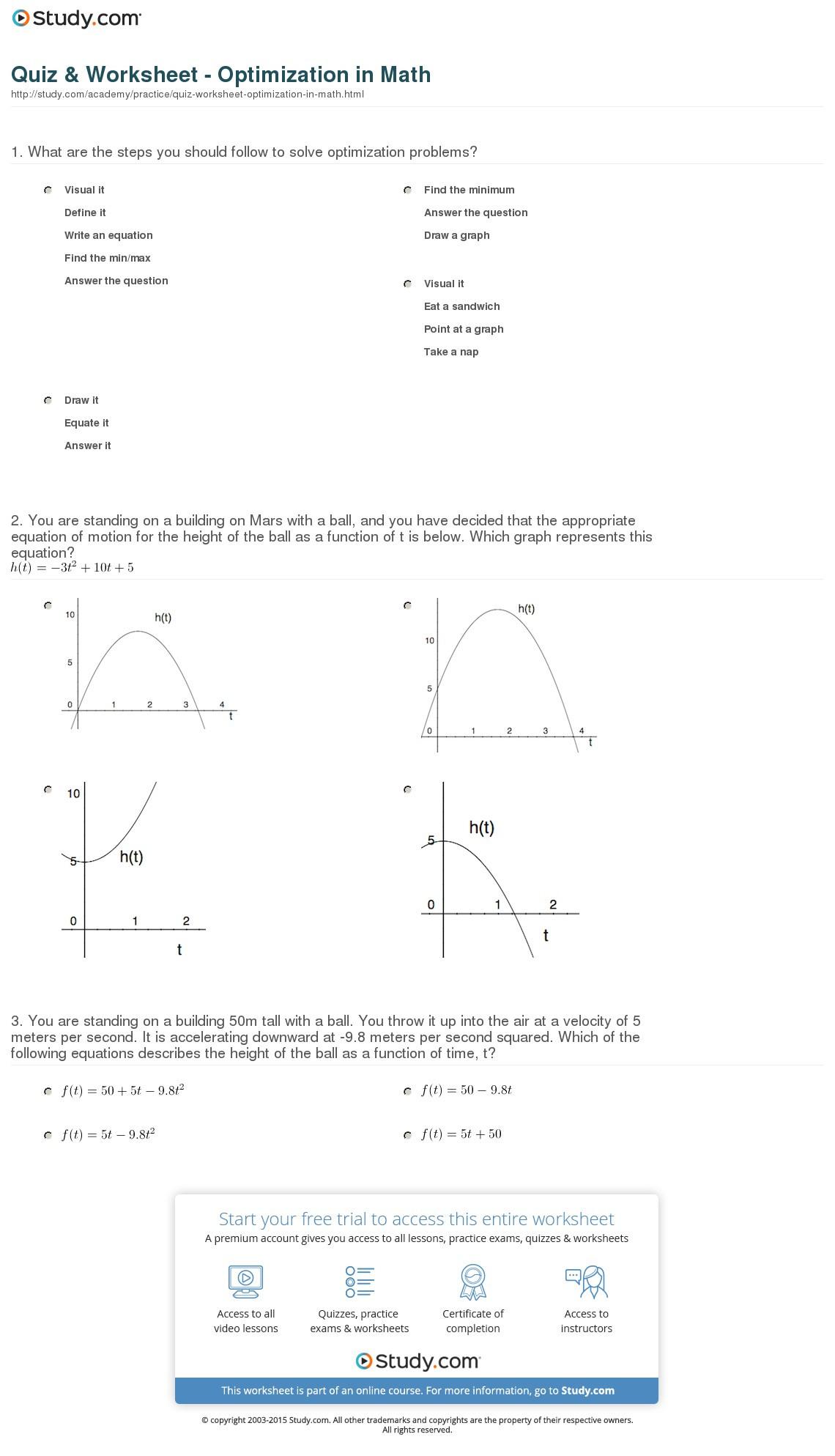 Quiz Worksheet Optimization In Math Study — db excel.com