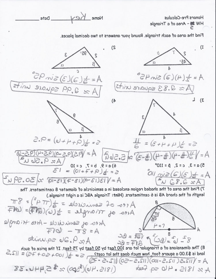 Quiz Worksheet Right Triangles With Inverse Trig Ratios ...