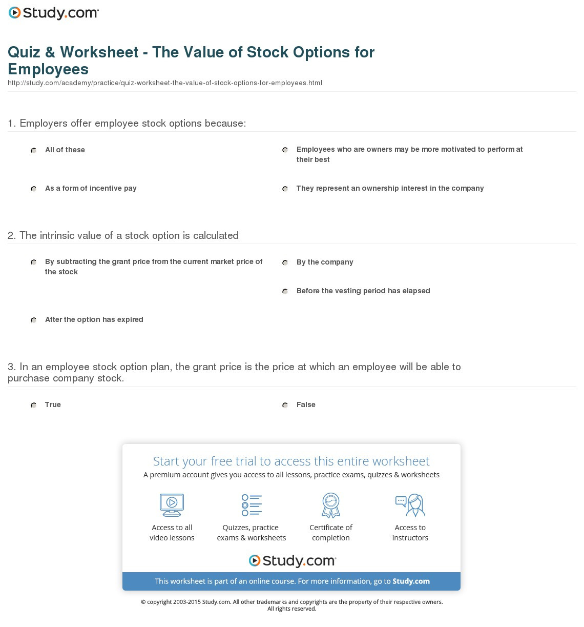 Quiz  Worksheet  The Value Of Stock Options For Employees  Study