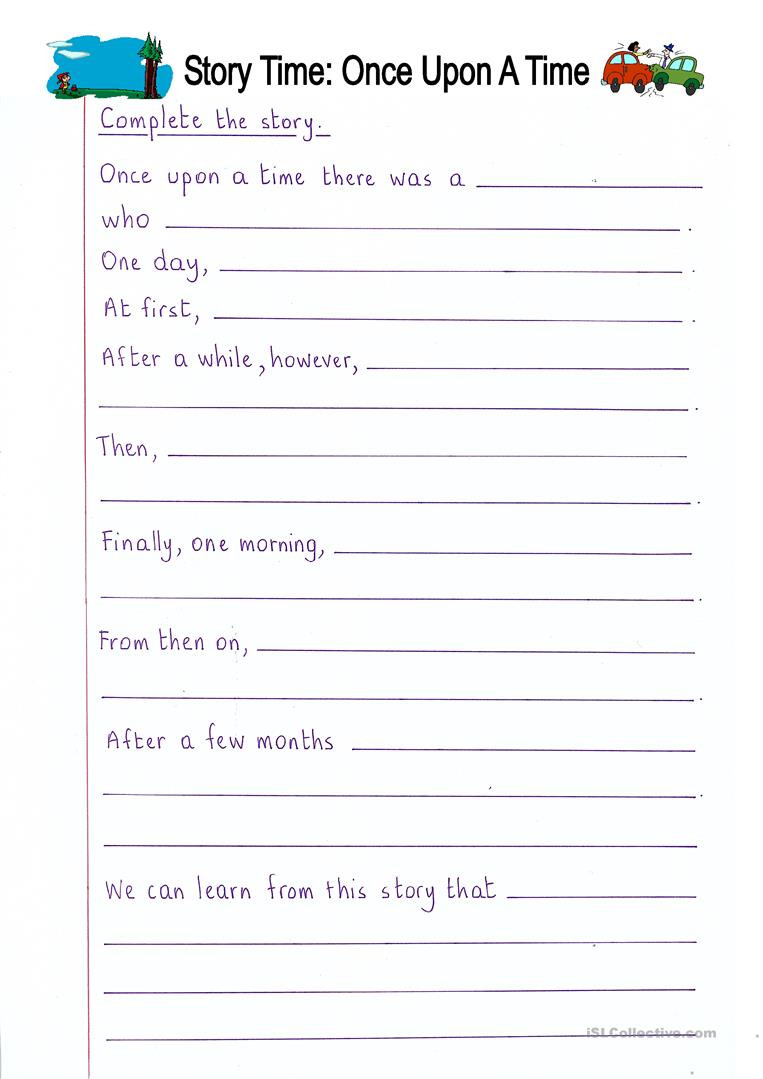 Read And Complete  Once Upon A Time Story Writing