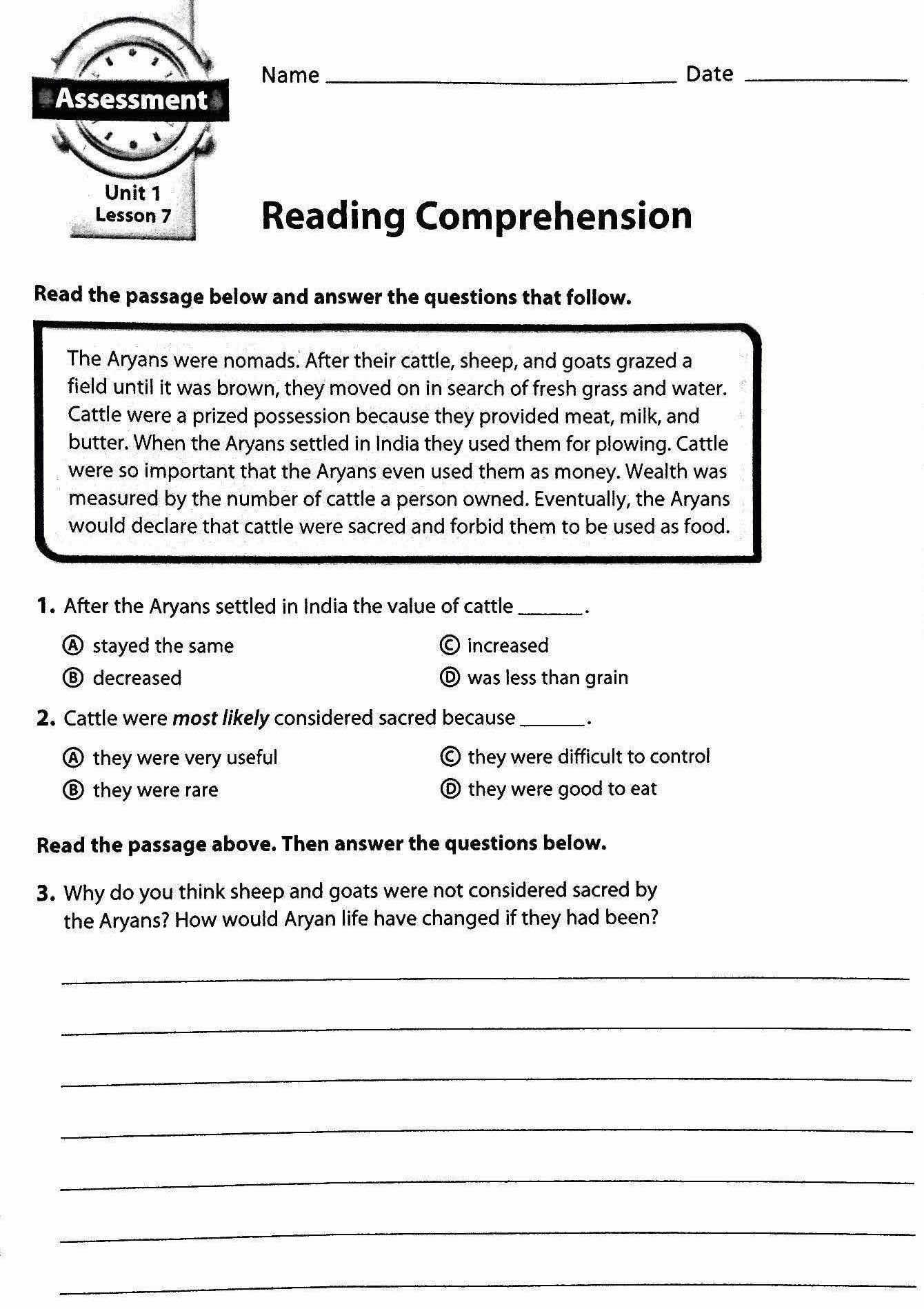 Reading Comprehension – Aryans  Mr Proehl's Social Studies