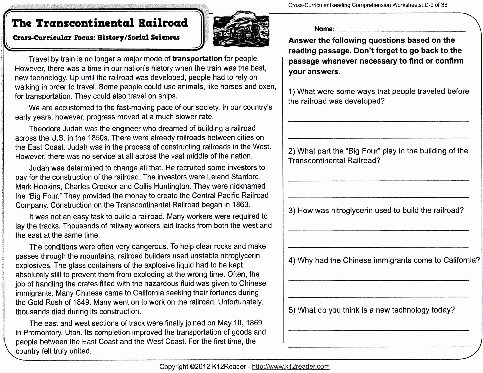 Reading Comprehension Worksheets For 8Th Grade Free Report ...