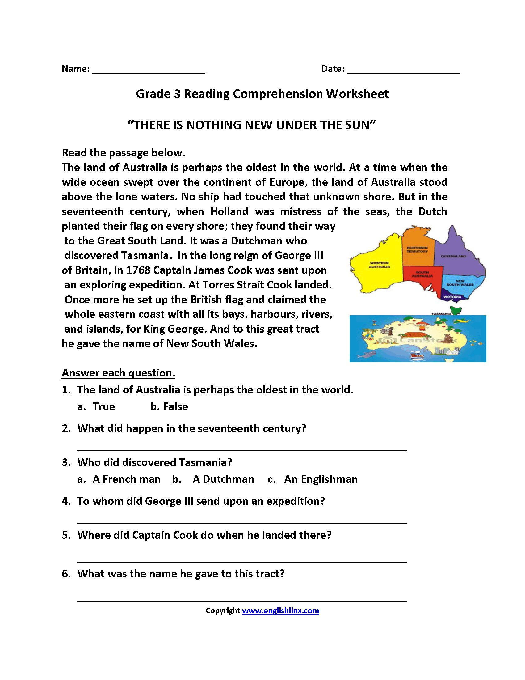 3Rd Grade Reading Comprehension Worksheets Multiple Choice ...