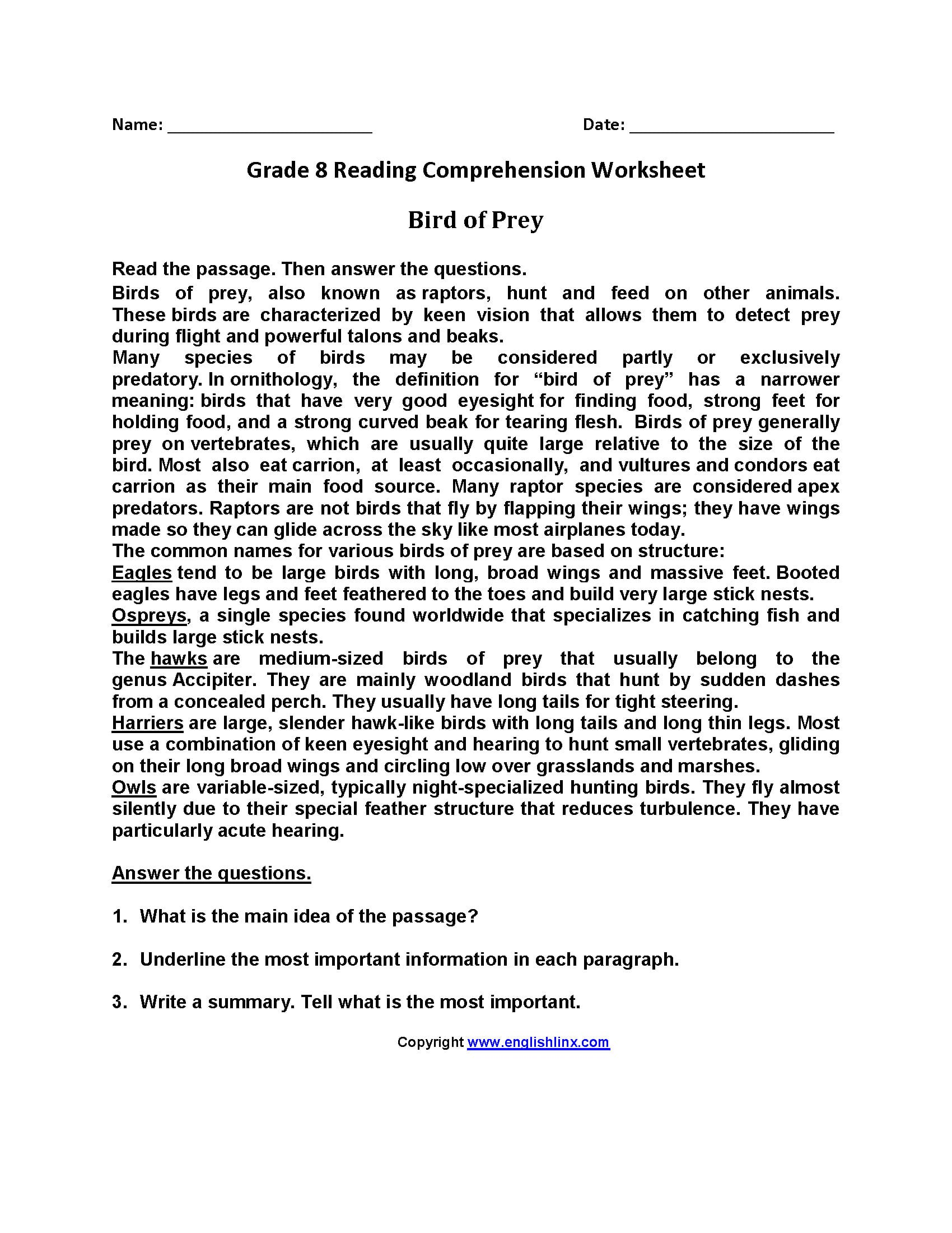 8Th Grade Reading Comprehension Worksheets — db excel.com